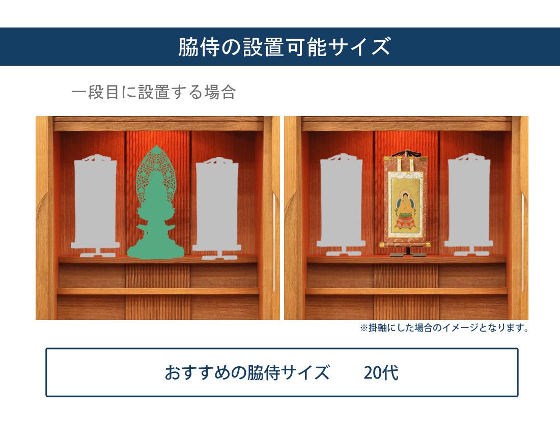 脇侍の設置可能サイズ