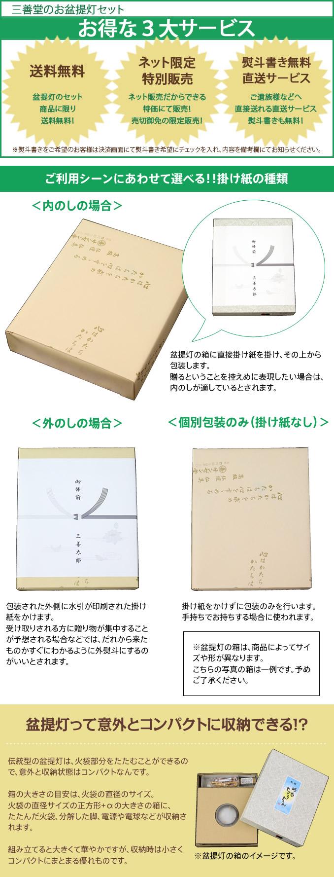 三善堂の盆提灯の三大サービス!