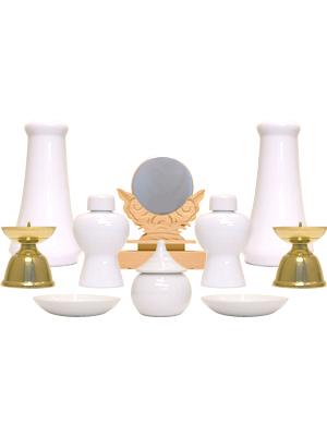 神具セット(榊立1対・徳利1対・小皿1対・火立1対・水玉・神鏡)